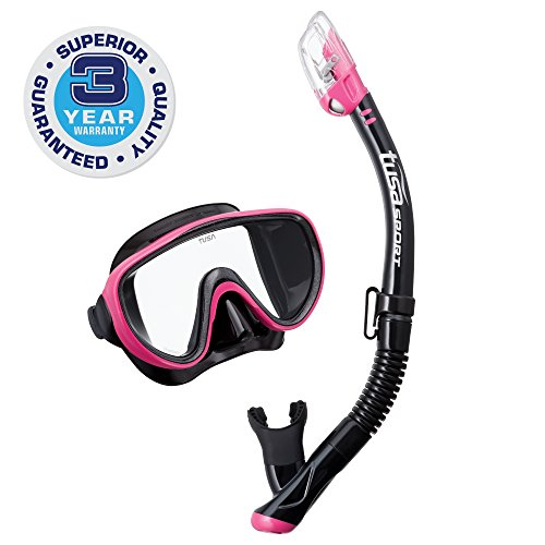 シュノーケリング マリンスポーツ UC-1625QB-HP 【送料無料】TUSA Sport Adult Serene Black Series Mask and Dry Snorkel Combo, Black/Hot Pinkシュノーケリング マリンスポーツ UC-1625QB-HP