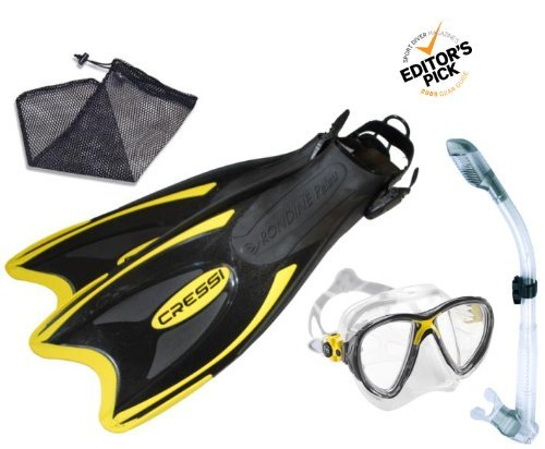 シュノーケリング マリンスポーツ Cressi Snorkeling Scuba Diving Mask Fins Dry Snorkel Set, Mens 4-7 | Womens 5-8シュノーケリング マリンスポーツ