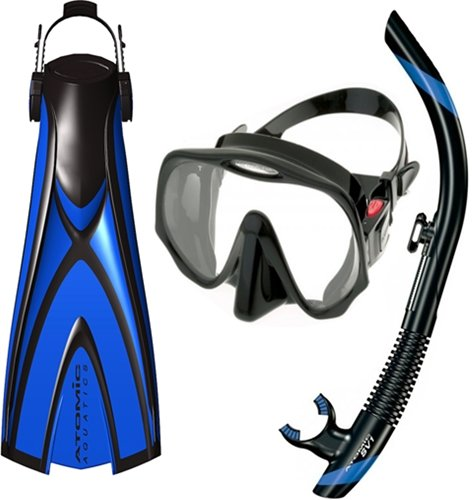 シュノーケリング マリンスポーツ Atomic Pro Package - X1 Open Heel Blade Fin, SV1 Snorkel and Frameless Mask (Small, Blue)シュノーケリング マリンスポーツ