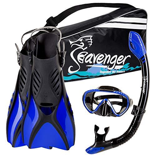 シュノーケリング マリンスポーツ SV-SET6-BS-B-M Seavenger Diving Snorkel Set - (Black Silicon/Blue) - Mシュノーケリング マリンスポーツ SV-SET6-BS-B-M