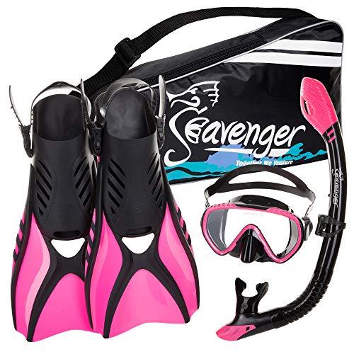 シュノーケリング マリンスポーツ SV-SET6-BS-B-L Seavenger Advanced Snorkeling Set with Panoramic Mask, Trek Fins, Dry Top Snorkel & Gear Bag (Black Silicone/Blue, Large)シュノーケリング マリンスポーツ SV-SET6-BS-B-L