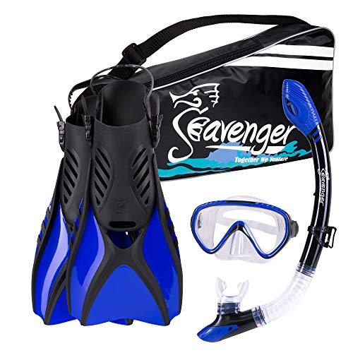 シュノーケリング マリンスポーツ SV-SET6-B-S Seavenger Scuba Diving Snorkeling Mask Snorkel Fin Set with Gear Bag (Blue/Small)シュノーケリング マリンスポーツ SV-SET6-B-S
