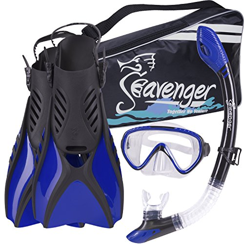 シュノーケリング マリンスポーツ SV-SET6-B-M Seavenger Advanced Snorkeling Set with Panoramic Mask, Trek Fins, Dry Top Snorkel & Gear Bag (Blue, Medium)シュノーケリング マリンスポーツ SV-SET6-B-M