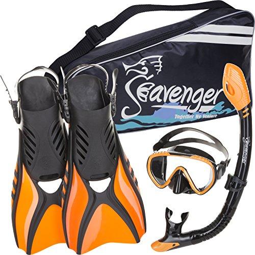 シュノーケリング マリンスポーツ SV-SET6-BS-O-L Seavenger Advanced Snorkeling Set with Panoramic Mask, Trek Fins, Dry Top Snorkel & Gear Bag (Black Silicone/Orange, Large)シュノーケリング マリンスポーツ SV-SET6-BS-O-L