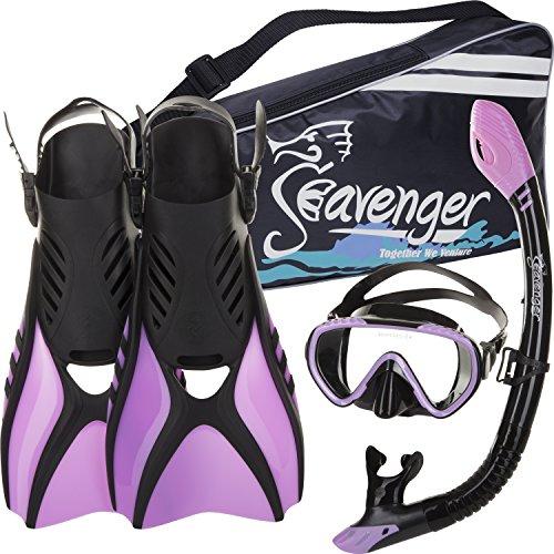 シュノーケリング マリンスポーツ SV-SET6-BS-PR-S Seavenger Advanced Snorkeling Set with Panoramic Mask, Trek Fins, Dry Top Snorkel & Gear Bag (Black Silicone/Purple, Small)シュノーケリング マリンスポーツ SV-SET6-BS-PR-S
