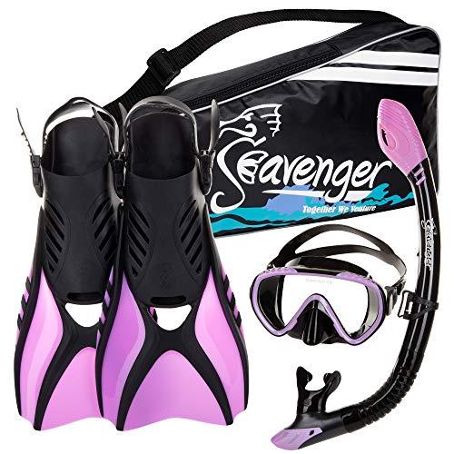 シュノーケリング マリンスポーツ SV-SET6-BS-PR-M Seavenger Diving Snorkel Set - (Black Silicon/Purple) - Mシュノーケリング マリンスポーツ SV-SET6-BS-PR-M