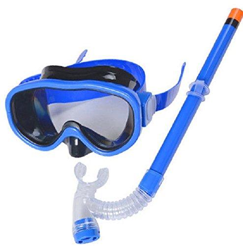 シュノーケリング マリンスポーツ YITU Kids Silicone Scuba Swimming Swim Diving Mask Snorkel Glasses Set Anti Fog Goggles (Blue)シュノーケリング マリンスポーツ