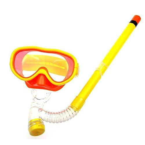シュノーケリング マリンスポーツ Kids Silicone Scuba Swimming Swim Diving Mask Snorkel Glasses Set Anti Fog Goggles (Yellow)シュノーケリング マリンスポーツ
