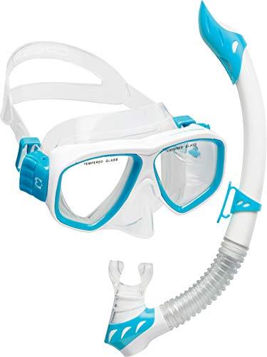 シュノーケリング マリンスポーツ 【送料無料】Cressi DELUXE, Kids Youth Mask Snorkel Set, White / Light Blueシュノーケリング マリンスポーツ