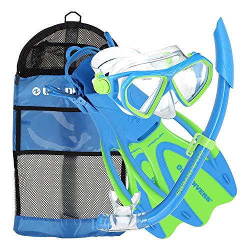 シュノーケリング マリンスポーツ 253624 【送料無料】U.S. Divers Junior Kids Dorado Mask, Proflex Fins, & Sea Breeze Snorkel Set with Carry Travel Bag, Fun Blueシュノーケリング マリンスポーツ 253624