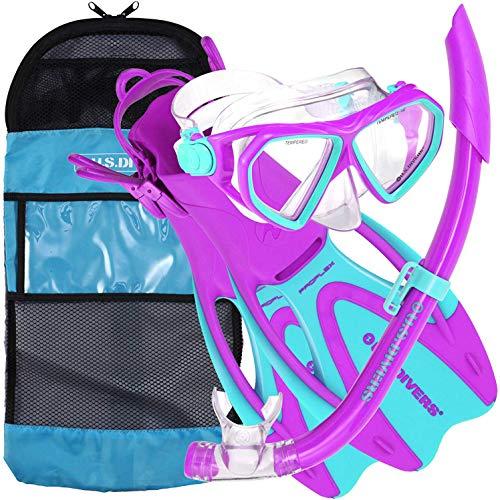 シュノーケリング マリンスポーツ 253627 U.S. Divers Dorado JR Mask Fins Snorkel Set, Fun Purple, Mediumシュノーケリング マリンスポーツ 253627