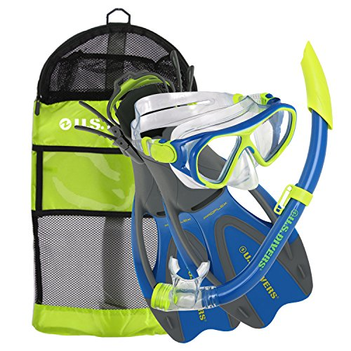 シュノーケリング マリンスポーツ 281094 【送料無料】U.S. Divers Junior Kids Dorado Mask, Proflex Fins, Sea Breeze Snorkel Set with Carry Travel Bag, Yellow/Blueシュノーケリング マリンスポーツ 281094