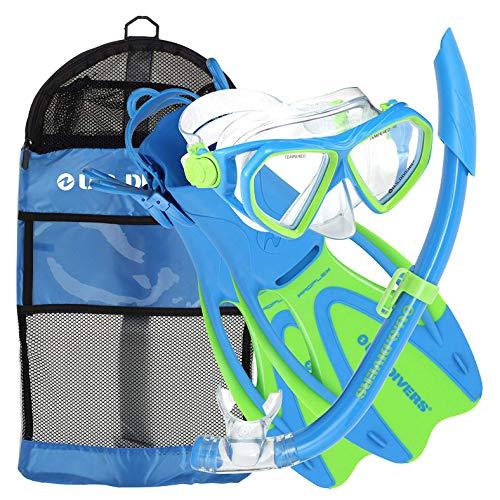 281095 U.S. 281095 Kids (Yellow/Blue). II Set Snorkel Bag Youth マリンスポーツ Gear and シュノーケリング Fins, Snorkel マリンスポーツ Snorkel, Divers (Large, Dorado 5-8)シュノーケリング Mask,