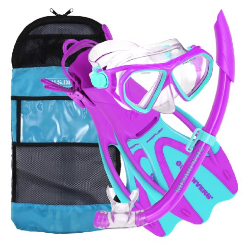シュノーケリング マリンスポーツ 253626 【送料無料】U.S. Divers Junior Small Kids Dorado Mask, Proflex Fins, & Sea Breeze Snorkel Set with Carry Travel Bag, Fun Purpleシュノーケリング マリンスポーツ 253626