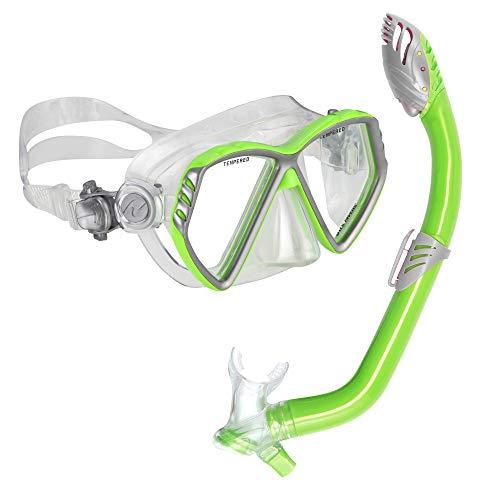 シュノーケリング マリンスポーツ 240375 【送料無料】U.S. Divers Junior Regal Kids Swimming Mask and Dry Top Snorkel Youth Combo Set, Slime Greenシュノーケリング マリンスポーツ 240375