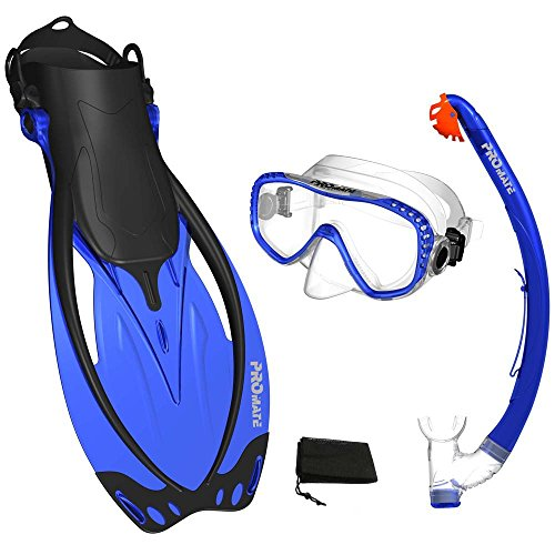 シュノーケリング マリンスポーツ Promate Blue, MLXL, scs0003, Snorkeling Mask Fins DRY Snorkel Set Gear Bagシュノーケリング マリンスポーツ