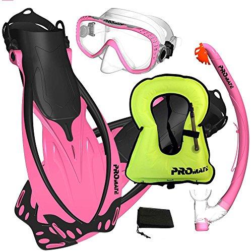 シュノーケリング マリンスポーツ Promate Snorkeling Vest Jacket Mask Fins DRY Snorkel Gear Set, Pink, SMシュノーケリング マリンスポーツ