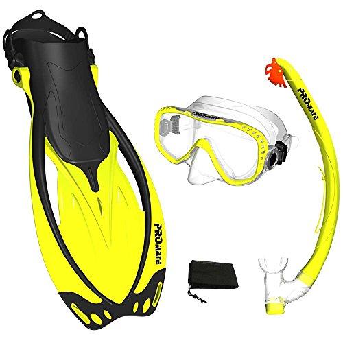 シュノーケリング マリンスポーツ Promate Yellow, MLXL, scs0003, Snorkeling Mask Fins DRY Snorkel Set Gear Bagシュノーケリング マリンスポーツ