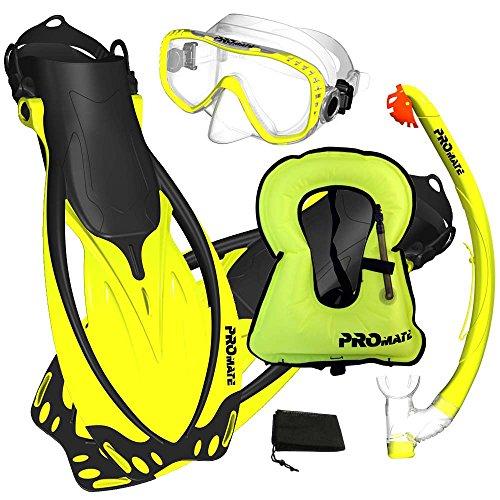 シュノーケリング マリンスポーツ Promate Snorkeling Vest Jacket Mask Fins DRY Snorkel Gear Set, Yellow, SMシュノーケリング マリンスポーツ