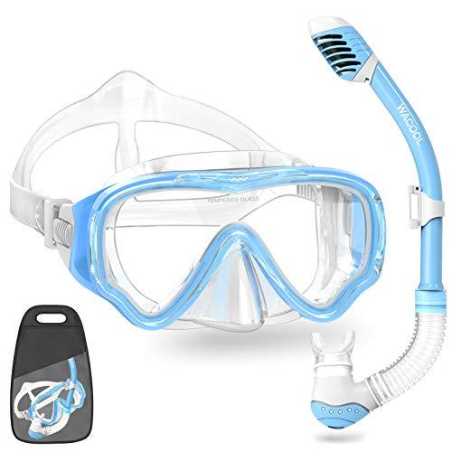 シュノーケリング マリンスポーツ 【送料無料】WACOOL Snorkeling Snorkel Package Set for Kids Youth Junior, Anti-Fog Coated Glass Diving Mask, Snorkel with Silicon Mouth Piece,Purge Valve and Anti-Splash Guard.(SkyBシュノーケリング マリンスポーツ