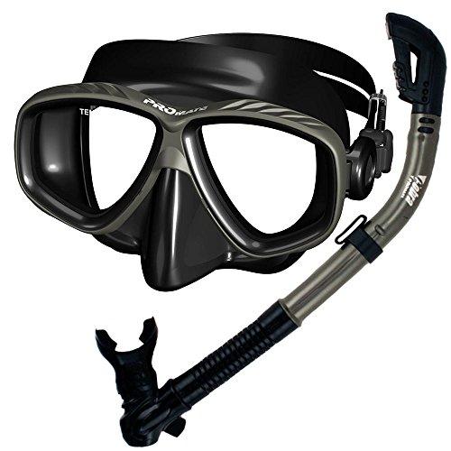 シュノーケリング マリンスポーツ SCS0030-TiBk 【送料無料】Promate Snorkeling Scuba Dive Dry Snorkel Purge Mask Gear Set, Black/Titaniumシュノーケリング マリンスポーツ SCS0030-TiBk