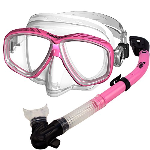 シュノーケリング マリンスポーツ PROMATE Snorkeling Scuba Dive DRY Snorkel PURGE Mask Gear Set, Pinkシュノーケリング マリンスポーツ