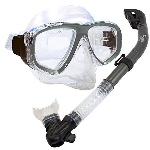 シュノーケリング マリンスポーツ 夏のアクティビティ特集 PROMATE Snorkeling Scuba Dive DRY Snorkel PURGE Mask Gear Set, Titaniumシュノーケリング マリンスポーツ 夏のアクティビティ特集