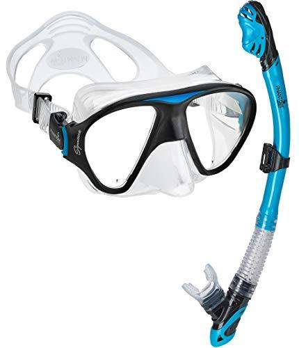シュノーケリング マリンスポーツ C2MSC-AQ 【送料無料】Phantom Aquatics Signature Mask Dry Snorkel Set, Aquaシュノーケリング マリンスポーツ C2MSC-AQ