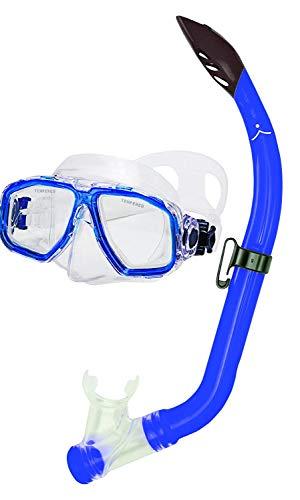 シュノーケリング マリンスポーツ MSF3516A 【送料無料】Innovative Scuba Concepts MSF3516A Junior Kids Snorkel, Mask, Neoprene Strap Wrapper and Mesh Bag Set,Translucent Blueシュノーケリング マリンスポーツ MSF3516A
