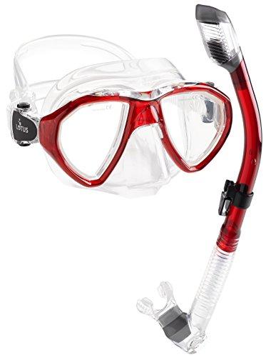 シュノーケリング マリンスポーツ PAQLMSC-RED-1 Phantom Aquatics Cancun Mask Snorkel Combo, Clear/Redシュノーケリング マリンスポーツ PAQLMSC-RED-1