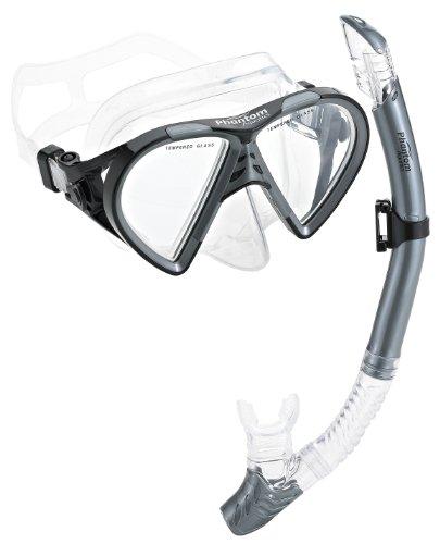 シュノーケリング マリンスポーツ PAQTEMSC-SL Phantom Aquatics Cancun Mask Snorkel Combo, Silverシュノーケリング マリンスポーツ PAQTEMSC-SL