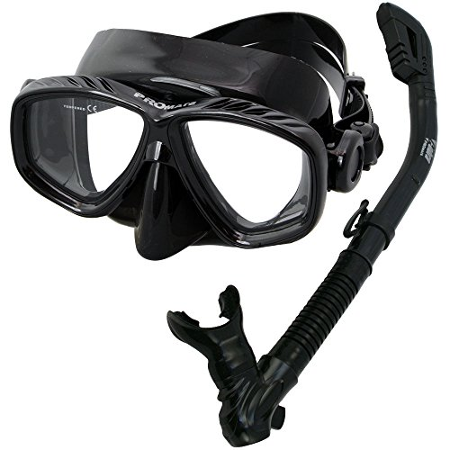 シュノーケリング マリンスポーツ SCS0066-All Black Promate Snorkeling Scuba Dive Dry Snorkel Mask Gear Set, All Blackシュノーケリング マリンスポーツ SCS0066-All Black
