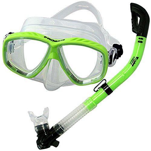 シュノーケリング マリンスポーツ PROMATE Snorkeling Scuba Dive Dry Snorkel Mask Gear Set, Greenシュノーケリング マリンスポーツ