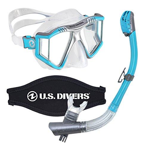 シュノーケリング マリンスポーツ 【送料無料】U.S. Divers Lux Mask Snorkel Diving Underwater Combo Set with Mount Compatible with GoPro Cameras, Aquaシュノーケリング マリンスポーツ