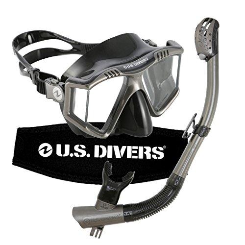 シュノーケリング マリンスポーツ 253614 U.S. Divers Lux Mask Snorkel GoPro Ready Combo Gun Metalシュノーケリング マリンスポーツ 253614