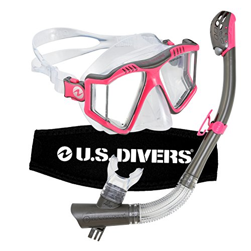 シュノーケリング マリンスポーツ 253613 【送料無料】U.S. Divers Lux Mask and Phoenix Snorkel Diving Underwater Combo Set with Mount Compatible with GoPro Cameras, Pinkシュノーケリング マリンスポーツ 253613