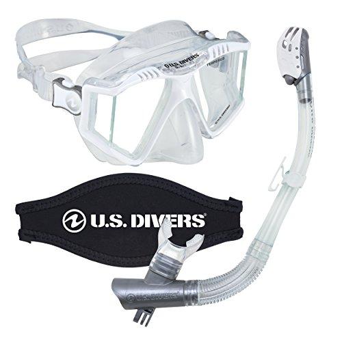 シュノーケリング マリンスポーツ LEPUSHPDJ6052 【送料無料】U.S. Divers Lux Mask Snorkel Diving Underwater Combo Set with Mount Compatible with GoPro Cameras, Whiteシュノーケリング マリンスポーツ LEPUSHPDJ6052