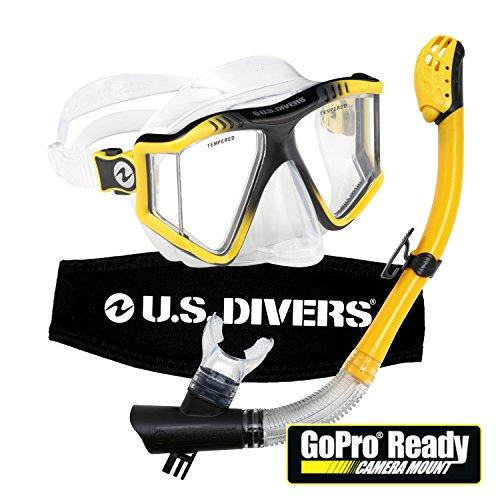 シュノーケリング マリンスポーツ U.S. Divers Lux Mask Snorkel Combo with Mount Compatible with GoPro Cameras Yellowシュノーケリング マリンスポーツ