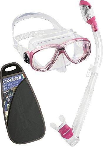 シュノーケリング マリンスポーツ ZDM109040 Cressi Perla & Supernova Dry, clear/pinkシュノーケリング マリンスポーツ ZDM109040