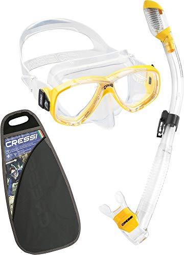 シュノーケリング マリンスポーツ ZDM109100 【送料無料】Cressi Perla & Supernova Dry, Clear/Yellowシュノーケリング マリンスポーツ ZDM109100