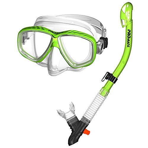 シュノーケリング マリンスポーツ 【送料無料】285890-Green, Snorkeling Purge Mask and Dry Snorkel Combo Setシュノーケリング マリンスポーツ