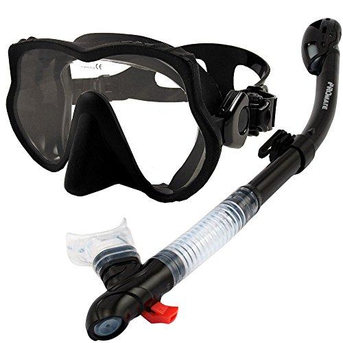 シュノーケリング マリンスポーツ Promate 500890, Black, Scuba Dive Dry snorkel Mask Snorkeling Setシュノーケリング マリンスポーツ