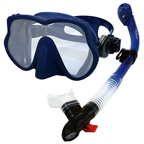 シュノーケリング マリンスポーツ 【送料無料】Promate 500890, Blue, Scuba Dive Dry Snorkel Mask Snorkeling Setシュノーケリング マリンスポーツ