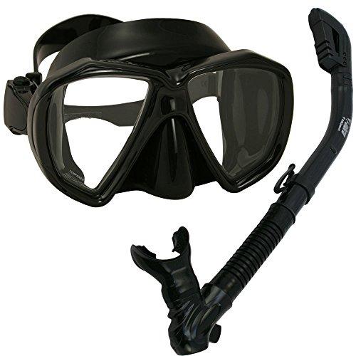 シュノーケリング マリンスポーツ Promate 260680, AllBlack Snorkel Mask Combo Set for Snorkeling Swimming Scuba Divingシュノーケリング マリンスポーツ