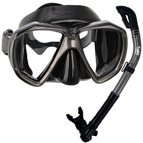 シュノーケリング マリンスポーツ Promate Snorkeling Scuba Dive Dry Snorkel Mask Deluxe Gear Set, BlackTitaniumシュノーケリング マリンスポーツ