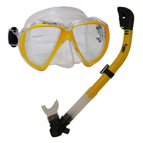 シュノーケリング マリンスポーツ Promate Snorkeling Scuba Dive Dry Snorkel Mask Deluxe Gear Set, Goldenrodシュノーケリング マリンスポーツ