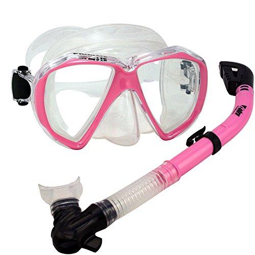 シュノーケリング マリンスポーツ Promate Snorkeling Scuba Dive Dry Snorkel Mask Deluxe Gear Set, Pinkシュノーケリング マリンスポーツ
