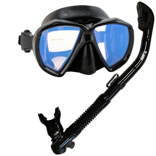 シュノーケリング マリンスポーツ Promate Scuba Dive DRY Snorkel Snorkeling Mask w/COLOR CORRECTION Lenses Combo Set, Red Lensesシュノーケリング マリンスポーツ