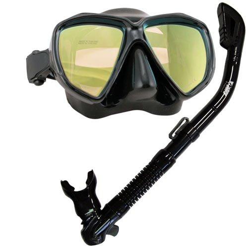 シュノーケリング マリンスポーツ Promate Scuba Dive DRY Snorkel Snorkeling Mask w/COLOR CORRECTION Lenses Combo Set, Yellow Lensesシュノーケリング マリンスポーツ