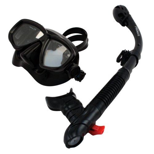 シュノーケリング マリンスポーツ 【送料無料】Promate Snorkeling Scuba Dive Dry Snorkel Mask (7590) Gear Set, All Blackシュノーケリング マリンスポーツ